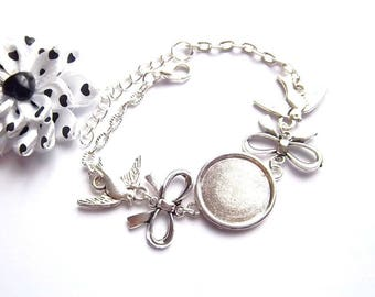 x bracelet holder silver ring 18 mm, BowTie, bird