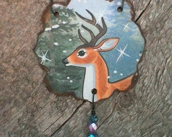 Twilight buck in snowfall with an evergreen tree- handcrafted vintage tin pendant is delightful! 3 Czech glass beads! Joyous forest beauty!