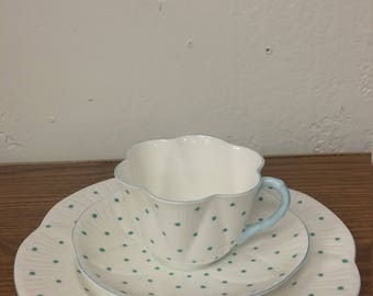 Vintage Shelley Polka Dot Turquoise Trio Cup/Sauce/Plate