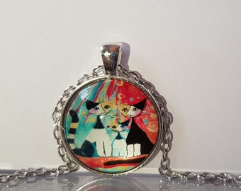 Cats glass cabochon and chain necklace
