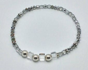 Bracelet cube Swarovski crystals and 925 Silver beads