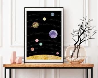 Planets Print, Solar System Print, Nursery Poster, Modern Artwork, Large Pictures Framed, Astronomy Art, Minimalist Wall Decor