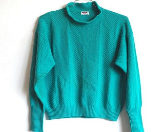 80's wool Parisian Teal ruffle turtleneck jumper