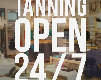 Custom vinyl decal door store business restaurant barber for 24 hour tanning salon