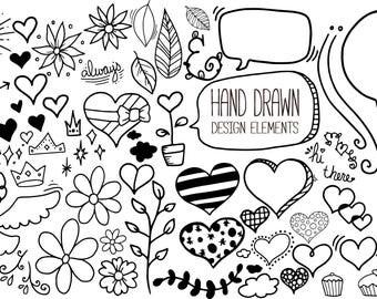 50+ hand drawn design elements set 2