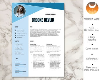 Resume Template • Modern & Professional Resume Template for Word • CV Resume + Cover Letter + Ref •  Instant Download Resume • 4 Page Resume