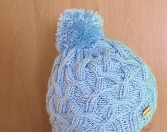 Hat with Pompom color blue soft and warm
