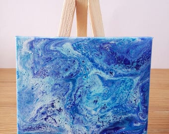 "Abstract Art Acrylic Painting Original | ""Ocean Waves"" 7cm x 9cm Canvas With Easel"