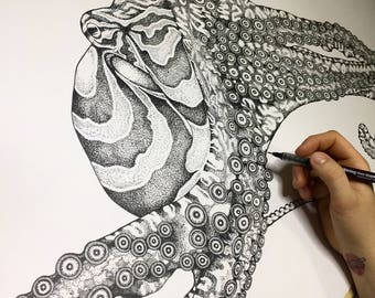original Animal Artworks in Ink Pen