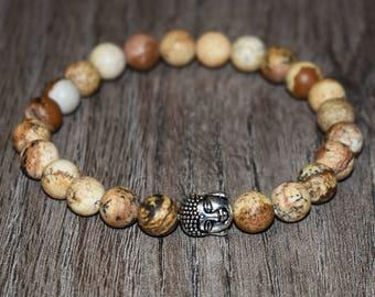 8mm Buddha Bracelet, Natural Picture Jasper Bracelet, Men Protection Bracelet,Women Protection Bracelet,Healing Bracelet,Meditation Bracelet