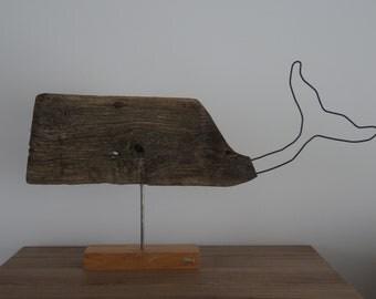 Whale driftwood on exotic wood base