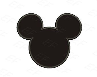 Machine Embroidery design - Mickey head applique design - instant download digital file
