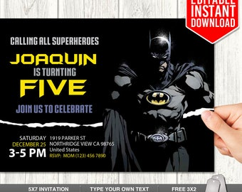Batman Invitation Download, Editable Batman PDF Template, Batman Invites, Dark Knight Invitation, Batman Birthday Party, Instant Download