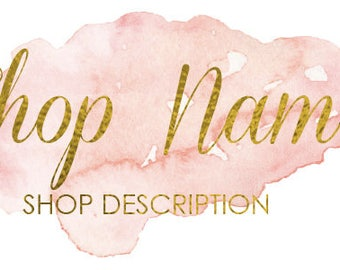 Gold Foil & Coral Watercolor Custom Shop Header - Includes Small Banner+Cover Photo Sizes