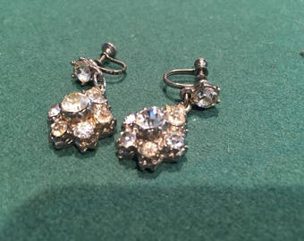 Vintage faux diamond tear-drop earrings