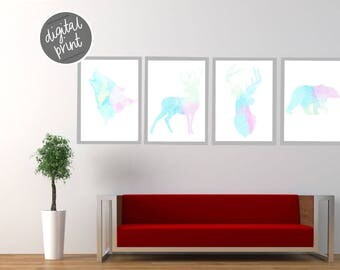 Set of Four, Colourful Technicolour Forest Animals, Instant Download