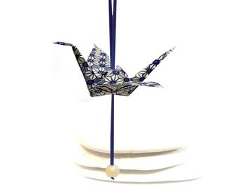 Origami crane with Pearl hanging decoration ornament