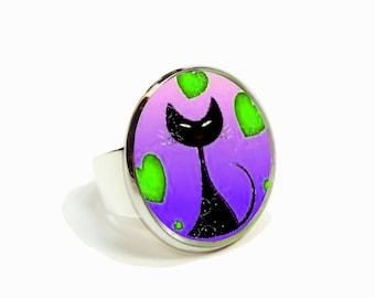 Cat hearts purple green cabochon ring