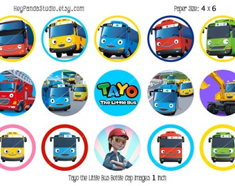 Tayo The Little Bus Printable Bottle Cap Images