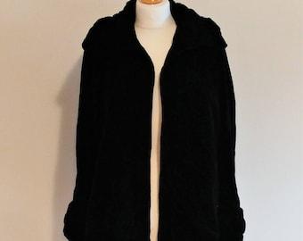 Vintage 1920/30s Handmade Black Velvet Ruched Collar and Cuffs Jacket