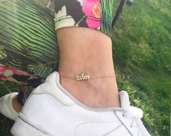 Hand-made Personalized Gold Name Anklet / Gold Anklet Available in 14k Gold, White Gold or Rose Gold