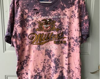 Bleached and Ripped Distressed Miller Beer Shirt