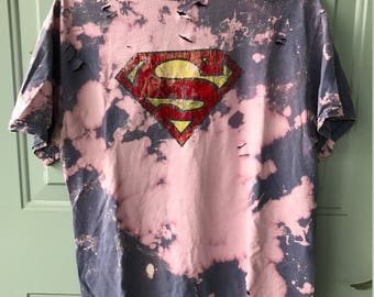 Bleached and Ripped Vintage Superman Shirt