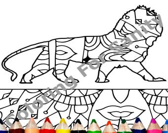 Printable Lion Coloring Page   Adult Coloring Page Download   Animal  Coloring Book Page   Instant