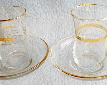 DELICATE TURKISH Tea Glasses and Saucers, a Pair from the 1970's