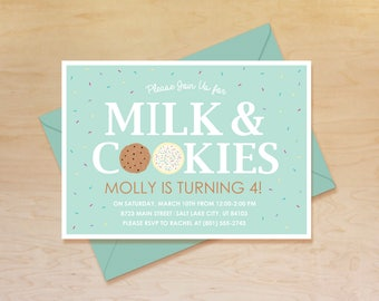 Milk and Cookies Invitation, Milk and Cookies Birthday Invitation, Milk and Cookies Birthday, Milk and Cookies Party, Cookies and Milk