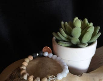 Stretch Diffuser Bracelet: Matte Picture Jasper, Crystal and Jade.