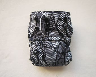Cloth diapers, Pocket Diapers, Washable Diapers, Lace, Cloth Diaper Pattern, Modern, Black and white, Baby Girl Diaper, One Size Diapers