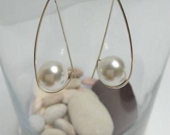 925 silver earrings and handmade Swarovski pearl