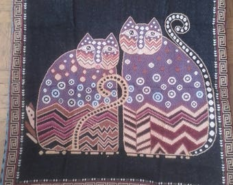 Cushion cover made with 2 curious Cats fabric ( Black denim for behind) - 43x43cm