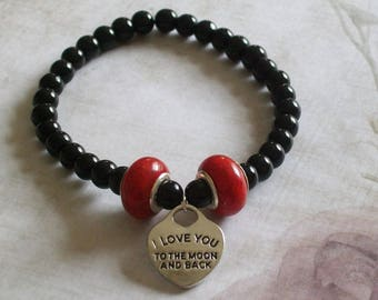 Bracelet beaded expander with heart charm i love you to the moon and back