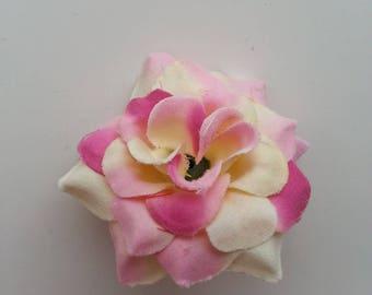fleur  en tissu ivoire et rose   50mm