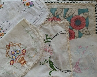 5 Vintage Needlework Embroidery Remnants - Delightful