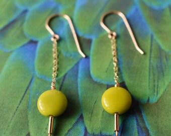14K Gold Geometric Dangle Earrings