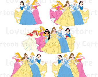 Disney Princess Svg, Eps, Dxf and Png formats - 14 Groups Clipart - Digital Download