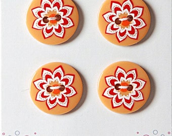 Set of 4 buttons style liberty flower 18 mm orange - button sewing orange red flower - button and red flower orange