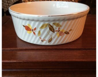 Halls Superior Jewel Tea Autumn Leaf Souffle Casserole Baking Dish