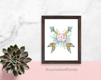 Floral arrow printable,printable wall art,Tribal wall print,nursery arrow print,arrow printable,boho floral arrow feather print,tribal art