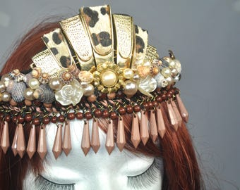 African desert Queen, Crown/Tiara festival wedding bridal fantasy hair accessories headband