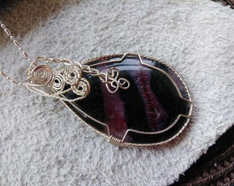 Red and Black Agate Sterling Silver Wire Wrapped Pendant
