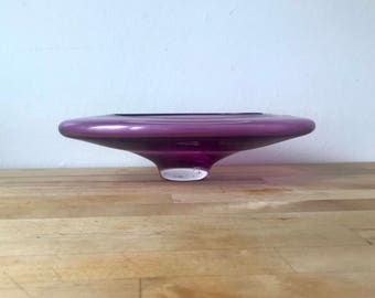 Beautiful Vintage Purple Glass Dish by Elis Bergh for Kosta Boda of Sweden - Midcentury