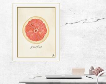 Grapefruit original watercolor digital print