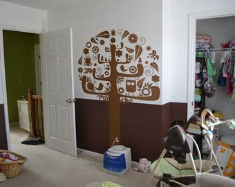 Birds Tree Nursery Wall Decal / Sticker, Wall decor in a modern cartoonish style for best fit in Kids Rooms, Juvenile rooms and Nurseries