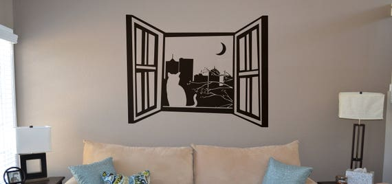 Cat by the Window Wall Decal Sticker, Cat looking at the moon by the window, City landscape, Curious Cat, Wood window