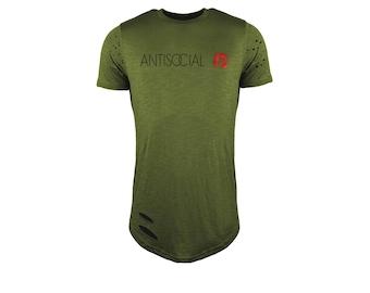 Mens T-shirt Anti social top curved hem tee fashion t-shirt clothing Longline