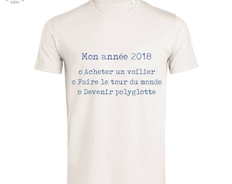 T-shirt year 2018 with your resolutions, goals, dreams - cotton organic fair - V neck